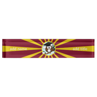 Graduation Owl With Red And Gold School Colours Desk Name Plates