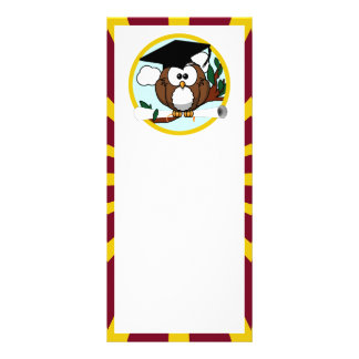 Graduation Owl With Red And Gold School Colours Custom Rack Cards
