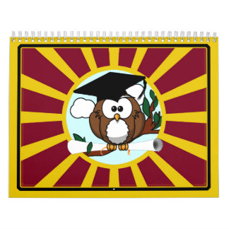 Graduation Owl With Red And Gold School Colours Wall Calendars