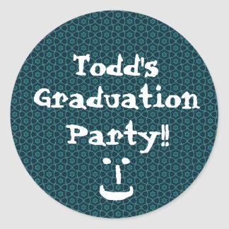 Graduation Party Blue and Teal Pattern Custom Round Sticker