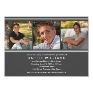 Graduation Party   Charcoal Classic Stripes Cards