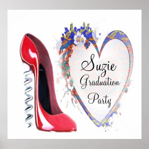 Graduation Party, Customisable Corkscrew Red Stile Poster