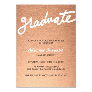Graduation Party | Elegant Rose Gold Typography 13 Cm X 18 Cm Invitation Card