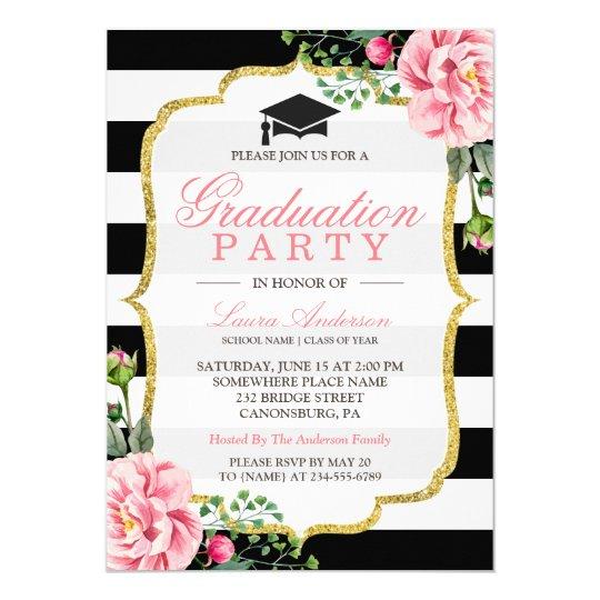Graduation Party Floral Gold DIY Stripes Colour Card