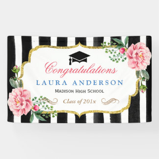 Graduation Party Floral Gold Glitter Black Stripes Banner