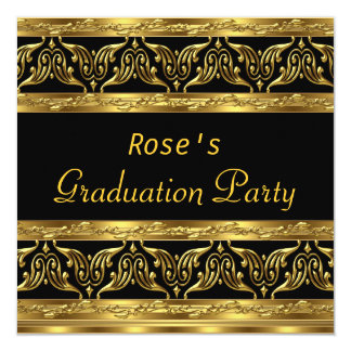 Graduation Party Gifts Gold Black 5.25x5.25 Square Paper Invitation Card