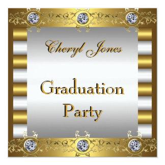 "Graduation Party Gold and Diamonds 5.25"" Square Invitation Card"