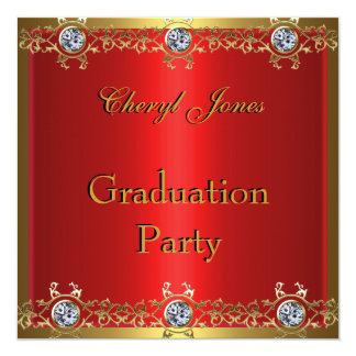 """Graduation Party Gold and Red 5.25"""" Square Invitation Card"""