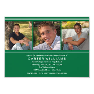 Graduation Party   Green Classic Stripes Card