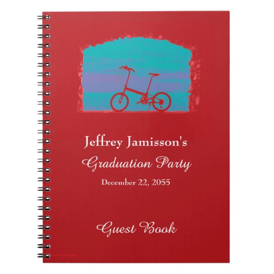 Graduation Party Guest Book, Red Bicycle Notebook