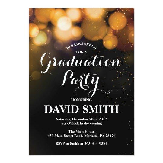 Graduation Party Invitation Card Gold Glitter