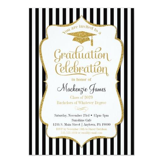 Graduation Party Invitation Elegant Black Gold