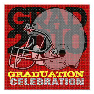 Graduation Party Invitation Football Helmet 1 Red