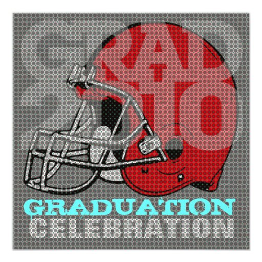 Graduation Party Invitation Football Helmet 2 Red