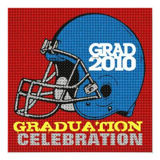 "Graduation Party Invitation Football Helmet 5 Blue 5.25"" Square Invitation Card"