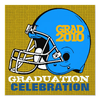 "Graduation Party Invitation Football Helmet 6 Blue 5.25"" Square Invitation Card"