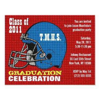 Graduation Party Invitation Football Helmet Blue