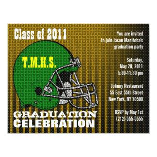 Graduation Party Invitation Football Helmet Green