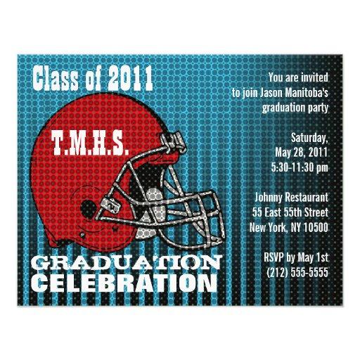 Graduation Party Invitation Football Helmet Red