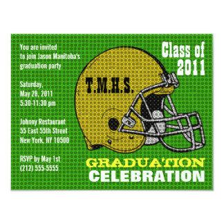 "Graduation Party Invitation Football Helmet Yellow 4.25"" X 5.5"" Invitation Card"