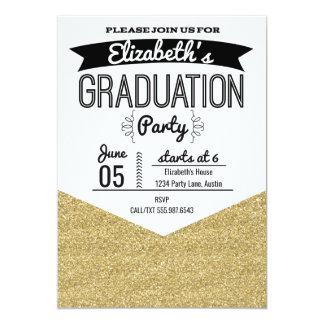 Graduation Party Invitation Gold Glitter and Black
