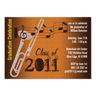 Graduation Party Invitation Music Trombone 2
