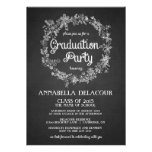 Graduation Party Invite-  Floral Wreath Chalkboard