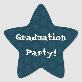 Graduation Party Navy Blue and White Star Flowers Star Sticker
