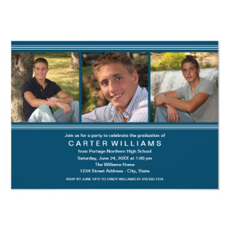 Graduation Party   Navy Classic Stripes Card