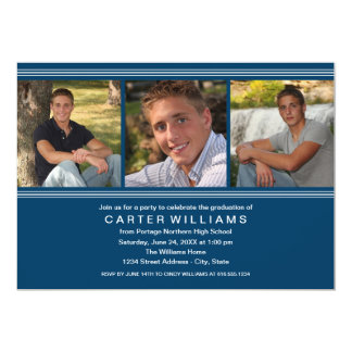 Graduation Party   Navy Classic Stripes Cards