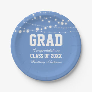 Graduation Party Paper Plates Lt Blue 7 Inch Paper Plate