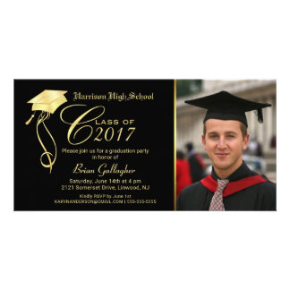 Graduation Party Photo Invitation Black & Gold Cap