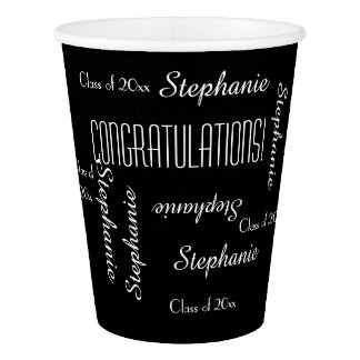Graduation Party Repeating Names, Paper Cup