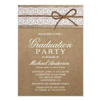 Graduation Party Rustic Burlap String Bow Lace 13 Cm X 18 Cm Invitation Card