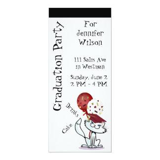 "Graduation Party Smiling White Cat Graduate 4"" X 9.25"" Invitation Card"