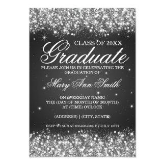 Graduation Party Sparkling Glitter Black 13 Cm X 18 Cm Invitation Card