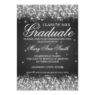 Graduation Party Sparkling Glitter Black Card