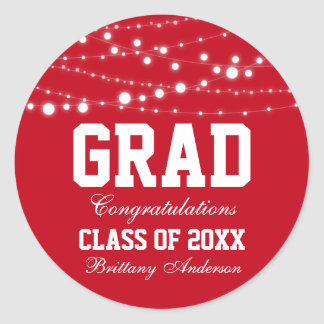 Graduation Party Stickers Red S