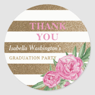 Graduation Party Thank You | Gold Stripes Flowers Round Sticker