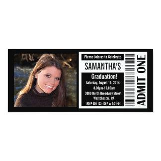 Graduation Party Ticket Invitations, Black White 10 Cm X 24 Cm Invitation Card