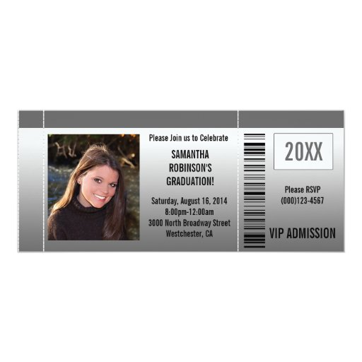 Graduation Party Ticket Invitations with Photo