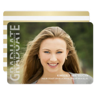 Graduation Party Trendy Typography Photo Overlay Card