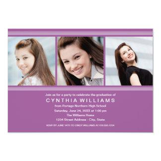 Graduation Party   Violet Classic Stripes Cards