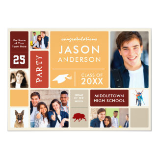 Graduation Party With Class Photos & Slogans Retro Card