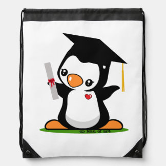 Graduation Penguin Drawstring Bag