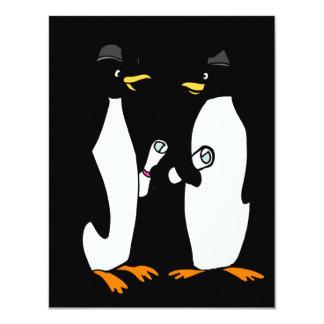 "Graduation Penguins Cartoon 4.25"" X 5.5"" Invitation Card"