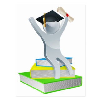 Graduation person on books post cards
