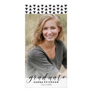 Graduation Photo Announcement triangles pattern Card