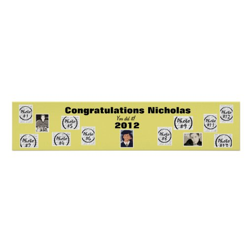 Graduation Photo Banner Yellow Poster