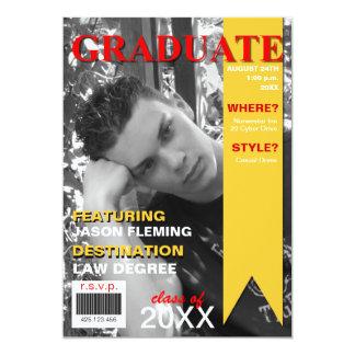 """Graduation Photo Magazine Cover Invitation 5"""" X 7"""" Invitation Card"""
